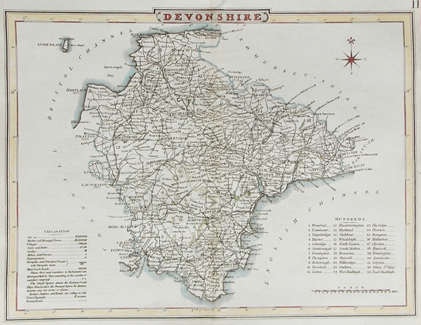 19th century map of Devon