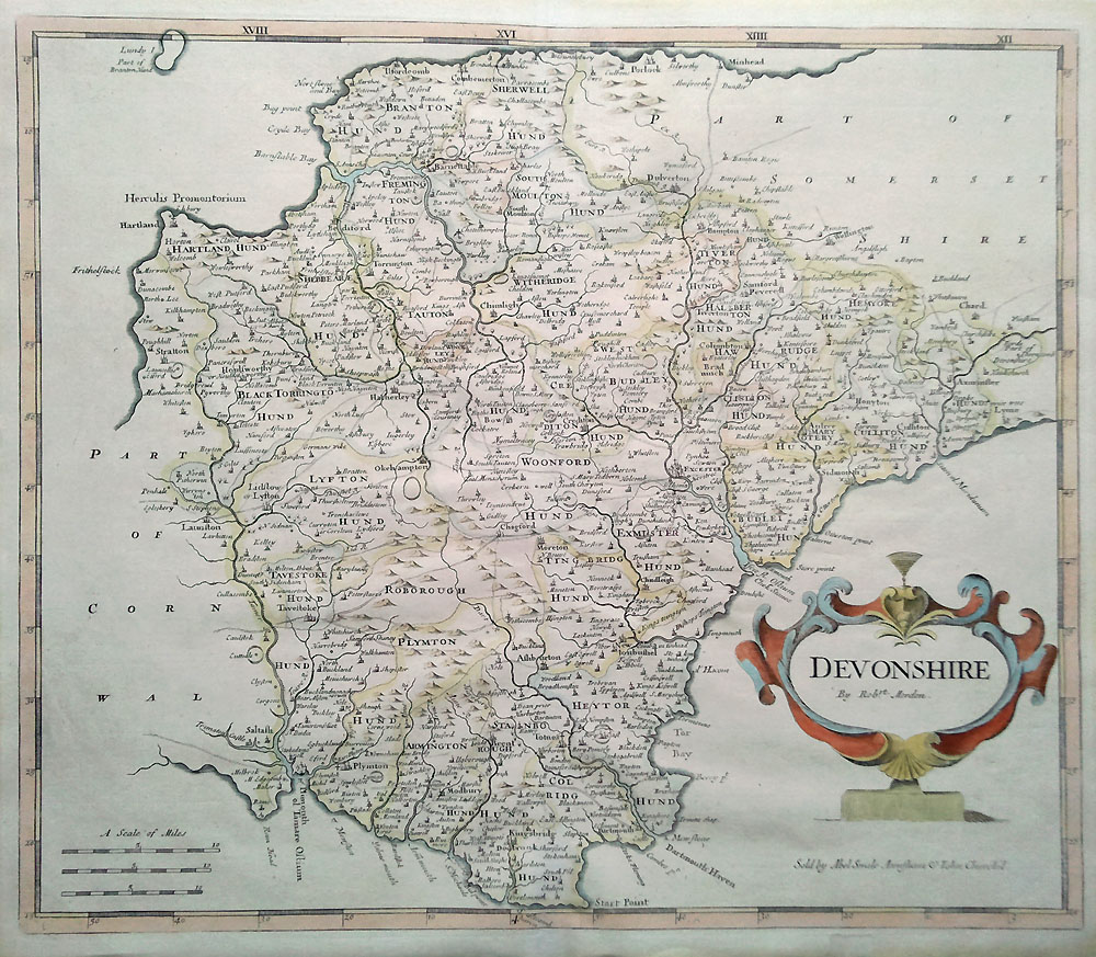 18th century map by Robert Morden of Devonshire