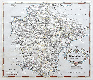morden map of Devon for sale