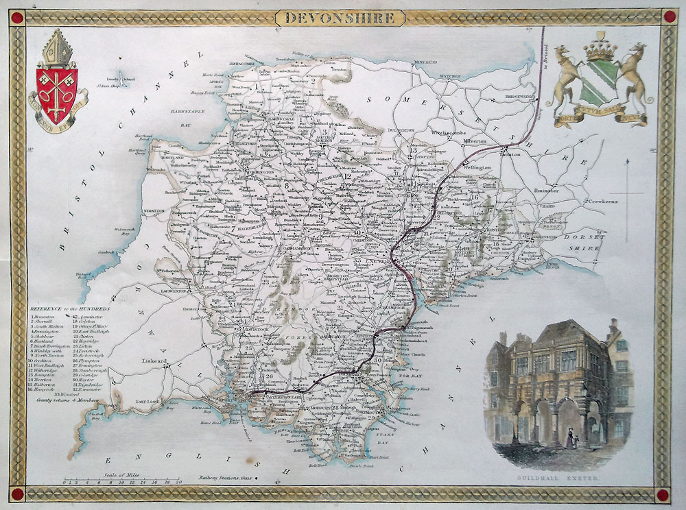 Original map of Devonshire by Thomas Moule