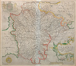 Saxton Kip 17th century map of Devon for sale