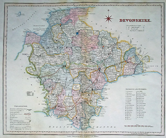 Antique Map of Devonshire by Robert Rowe for Henry Teesdale