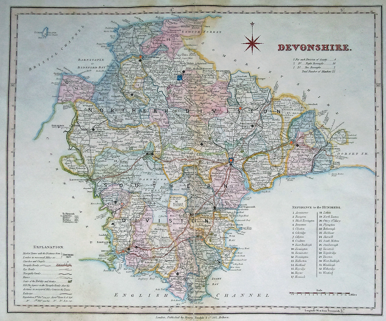 Antique Map Of Devonshire By Rowe And Teesdale