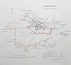 Dorchester 19th century antique town plan
