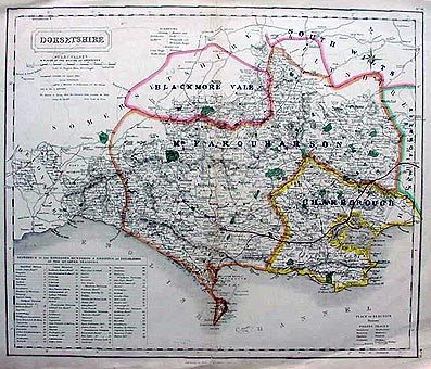 Antique Hunting Map of Dorset