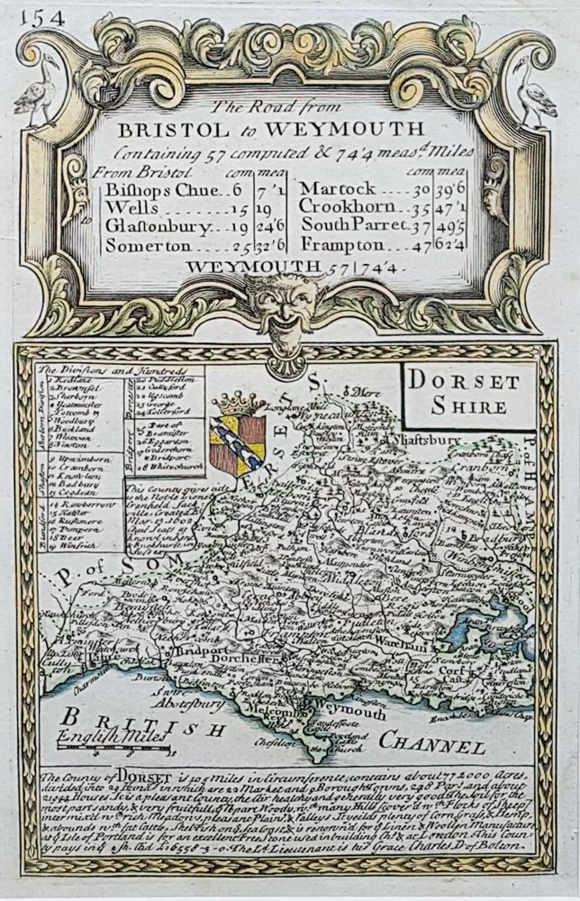 Dorset county map by Emanuel Bowen for sale