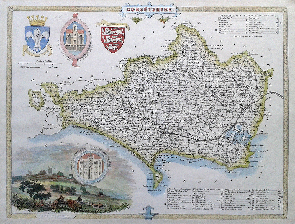 Antique map of Dorsetshire by Thomas Moule