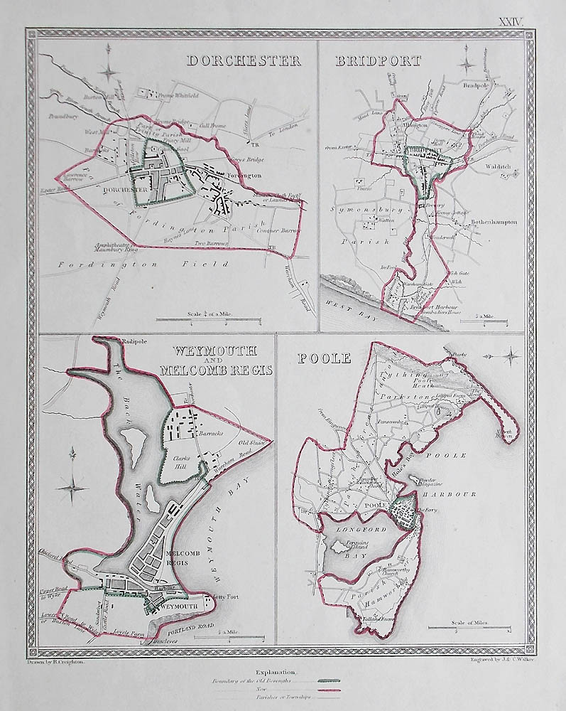 Antique town plans of Weymouth Dorchester Bridport and Poole