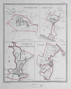 Dorset Town Plans, Dorchester, Bridport, Weymouth and Melcomb Regis, Poole