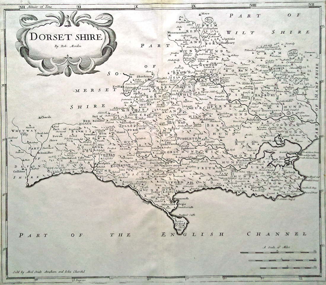 Antique map of Dorset by Robert Morden