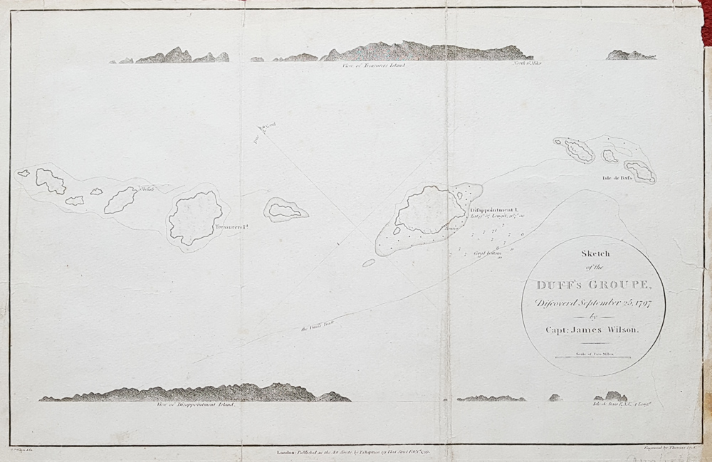 18th century sea chart of the Duff Islands