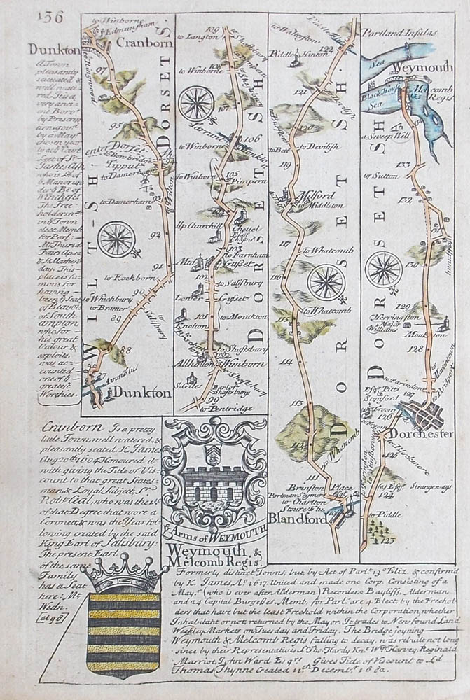 18th Century Road Map Dunkton To Weymouth Circa 1720 1764