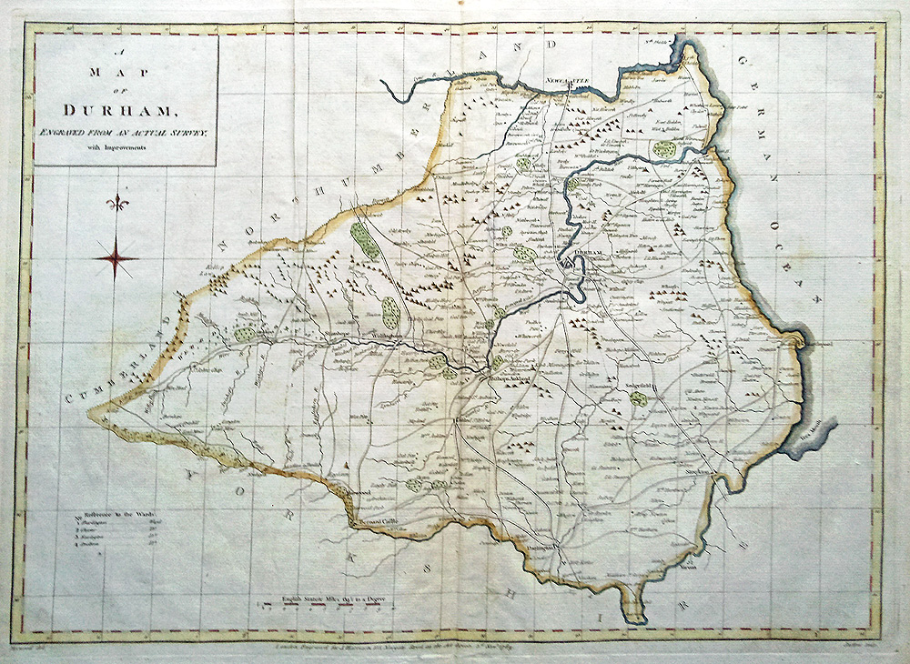 18th century Map of County Durham by Harrison