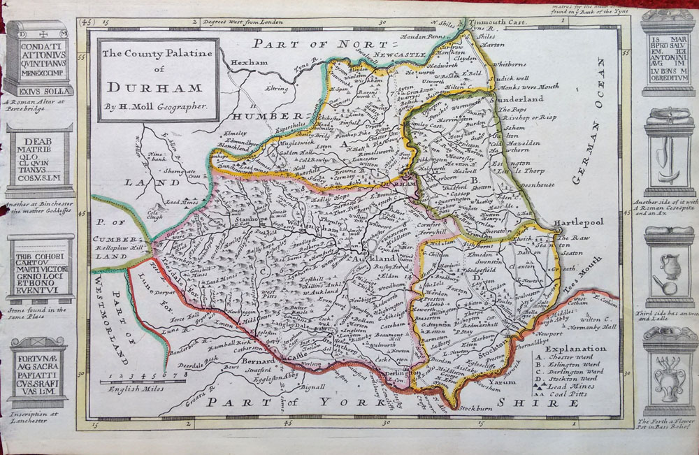 Map Of England Durham.18th Century Old Map Of County Durham By Herman Moll Circa 1724