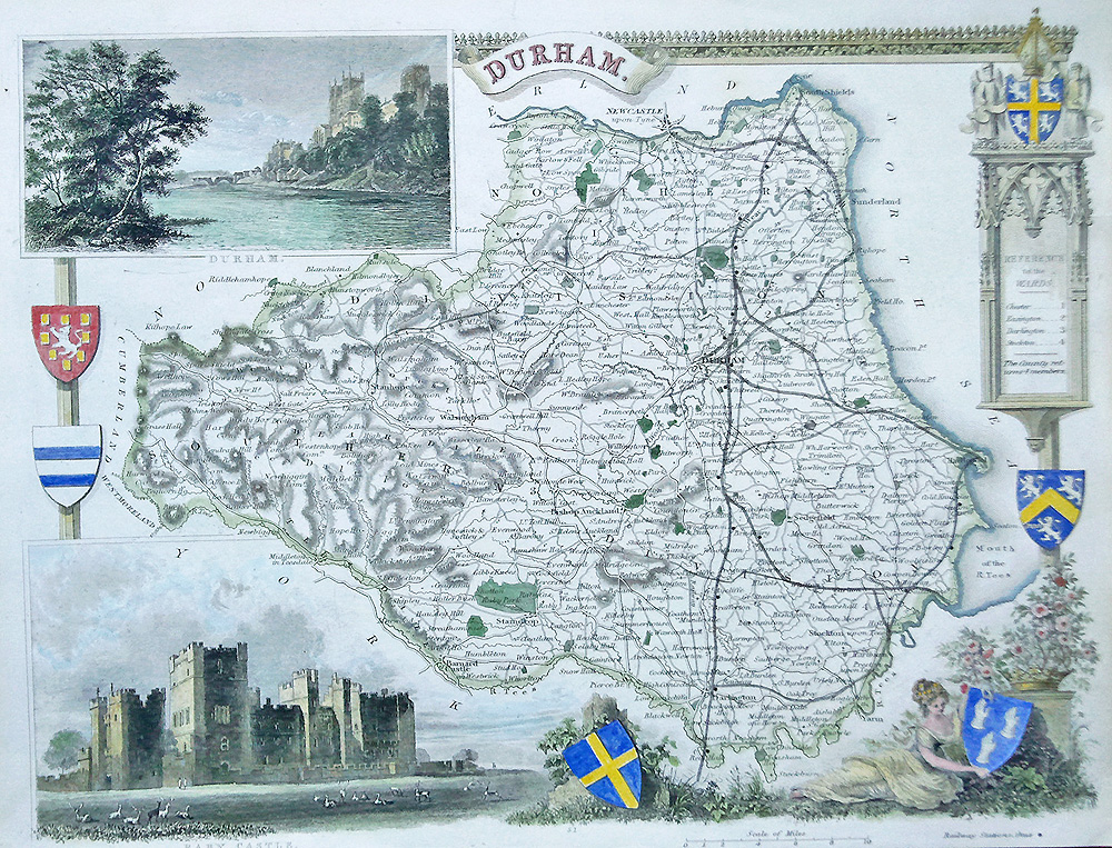 County Map of Durham for sale - original antique