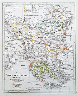 eastern Europe mapwith Romania 19th century for sale