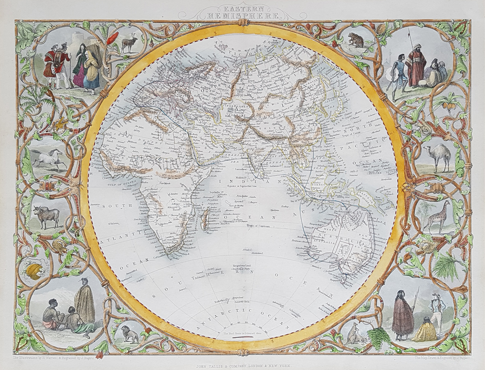 Eastern Hemisphere of the World antique map
