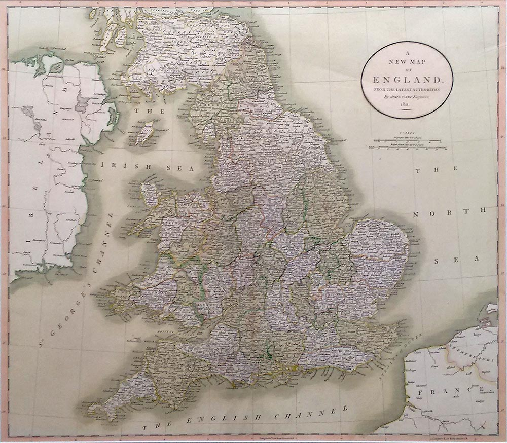 Early 18th century map of England and Wales by John Cary