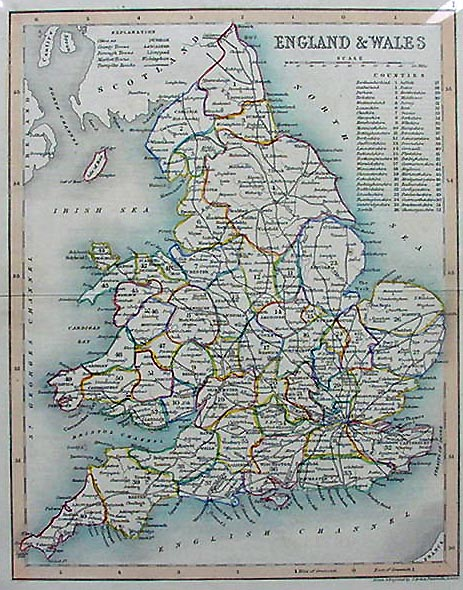 Map Of England And Wales.Old Map Of England And Wales Joshua Archer 1850
