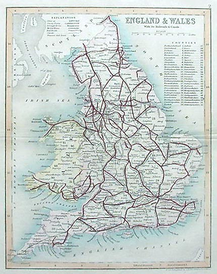 Railroads and Canals of England and Wales - Antique Map