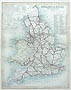 England and Wales Canal and Railroad map - 19th century