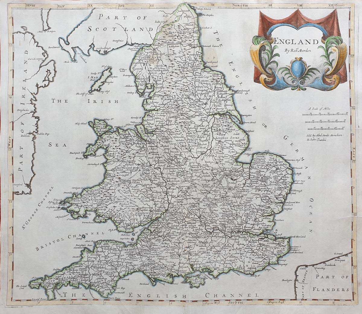 Antique map of England and Wales by Robert Morden