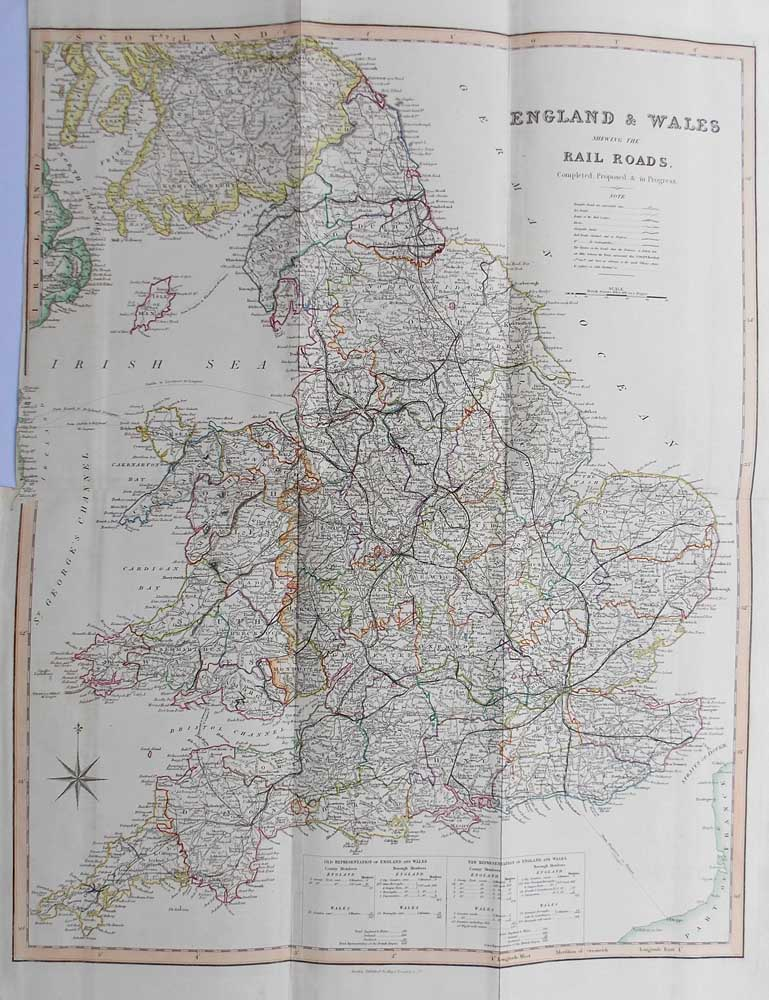 Large Map Of England.Large Antique England And Wales Railway Map Teesdale Circa 1840