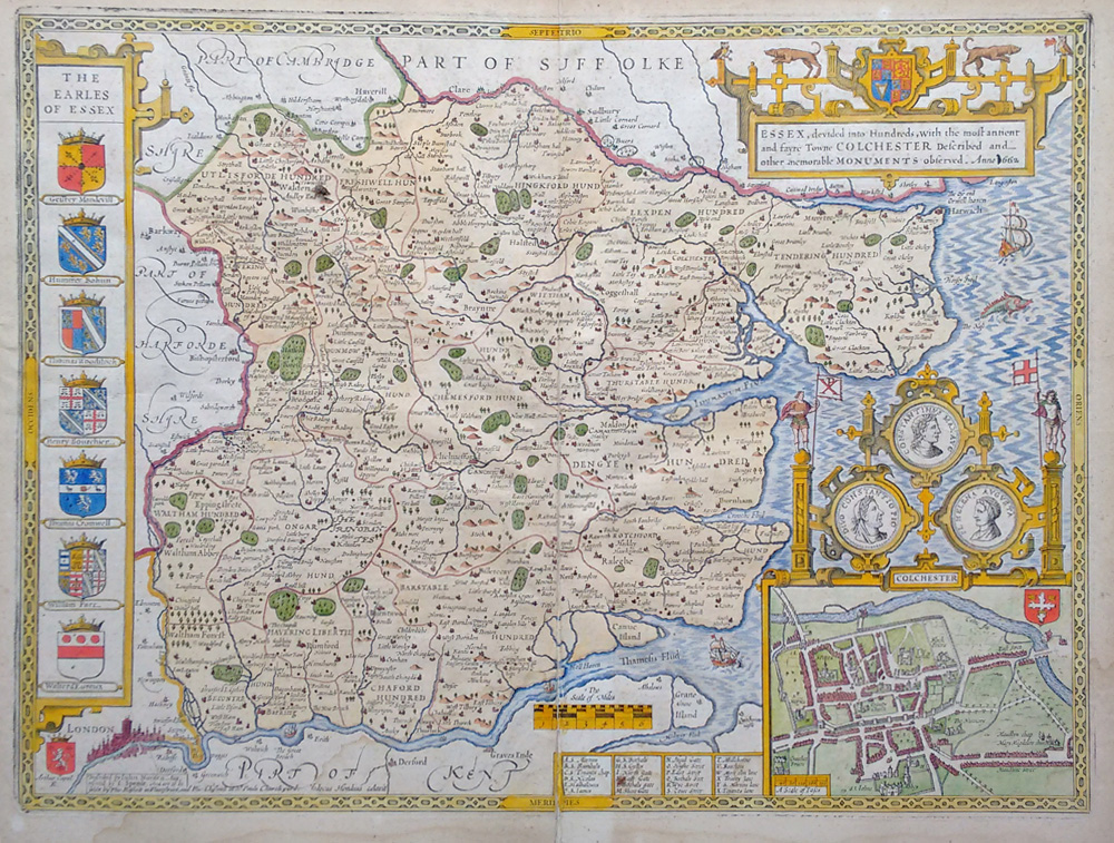 Antique map of Essex by John Speed for sale