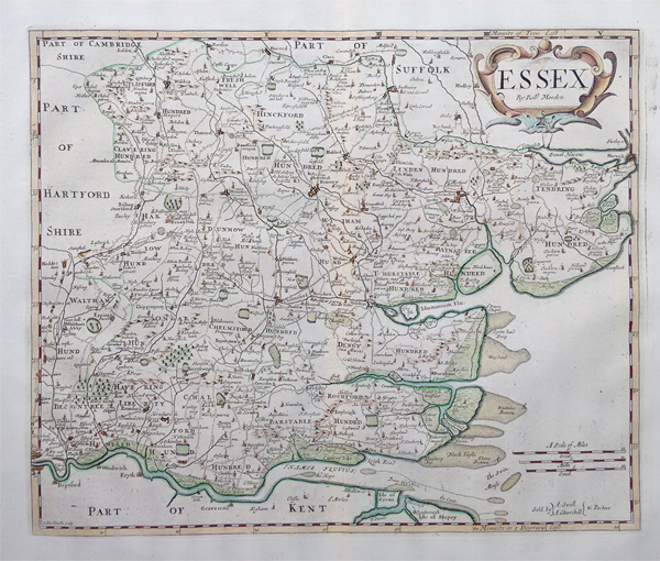 Robert morden original 18th century map essex essex r morden 18th century map gumiabroncs Images