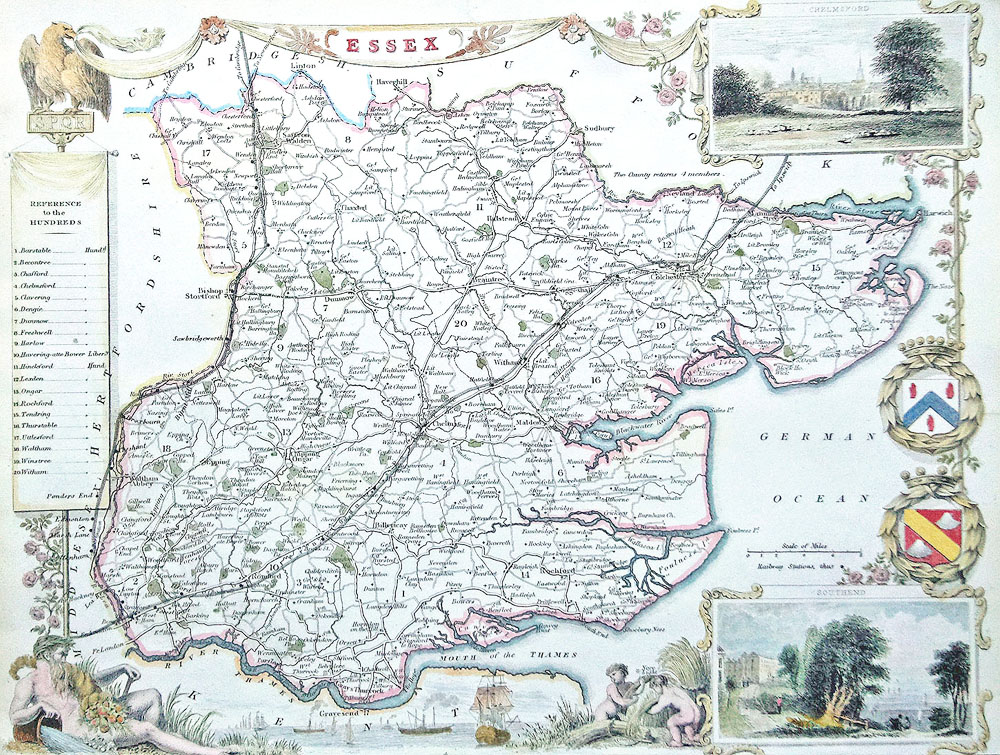 Antique map of Essex by Thomas Moule