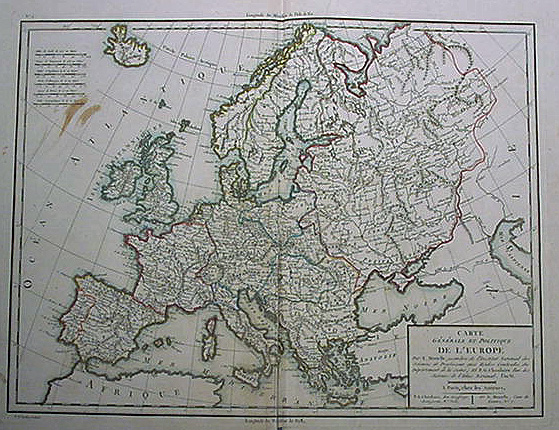Antique Political map of Europe dated circa 1805 by Tardieu