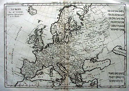Map Of Europe 1780.18th Century Antique Map Of Europe By M Bonne Dated 1780
