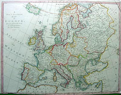 Thomas Bowen 18th Century Antique Map Of Europe Dated 1777