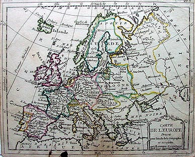 1871 map of europe. Antique map of Europe
