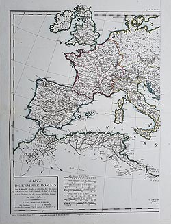 Roman Emprire map by Bonne for sale
