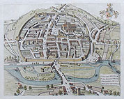 Exeter City Map by Lysons after Hogenburg