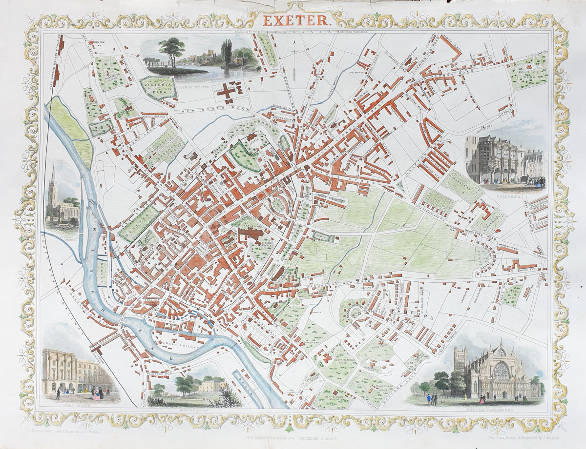 Exeter Antique Town Plan by Rapkin