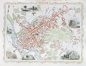 Antique City Map of Exeter by rapkin and tallis for sale