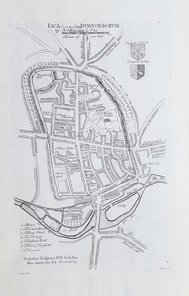 18th century map of Exeter by Stukeley