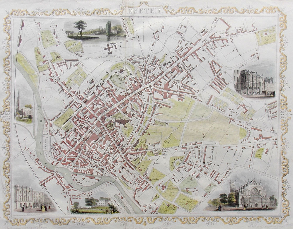 Georgian street plan of Exeter by John Rapkin for John Tallis circa 1860