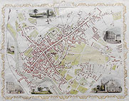 Exeter antique city map by Rapkin and Tallis for sale