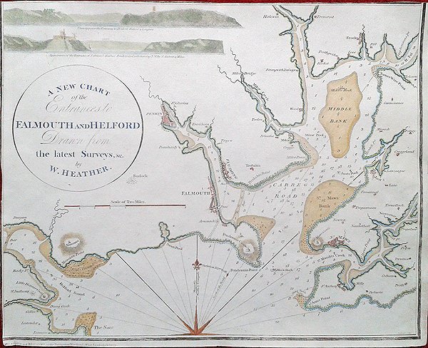 Falmouth antique sea chart