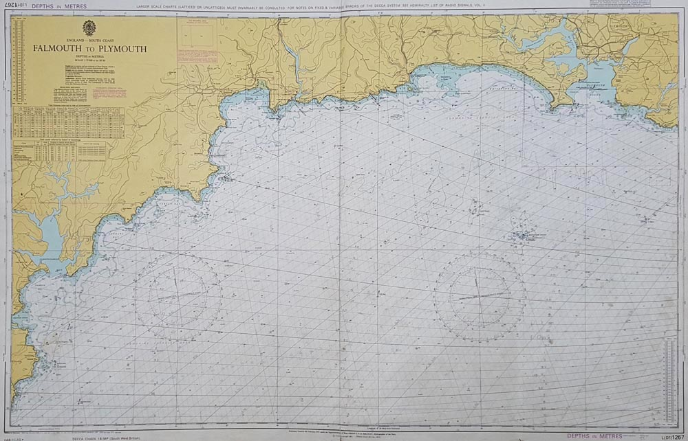 Vintage Admiralty Chart - South Cornwall