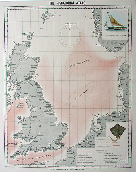 British isles fishing map thornback ray antique dated 1900 for Colorado fishing atlas