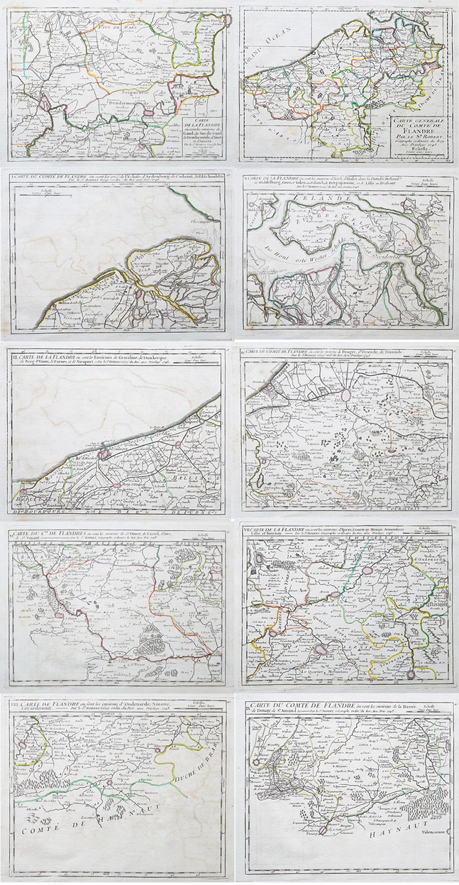 Eighteenth Century Antique Maps of Flanders - 18th century - Vaugondy
