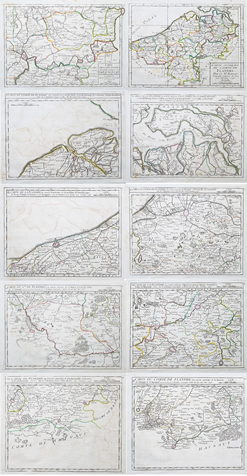 Set of ten 18th century maps of Flanders by Vaugondy for sale