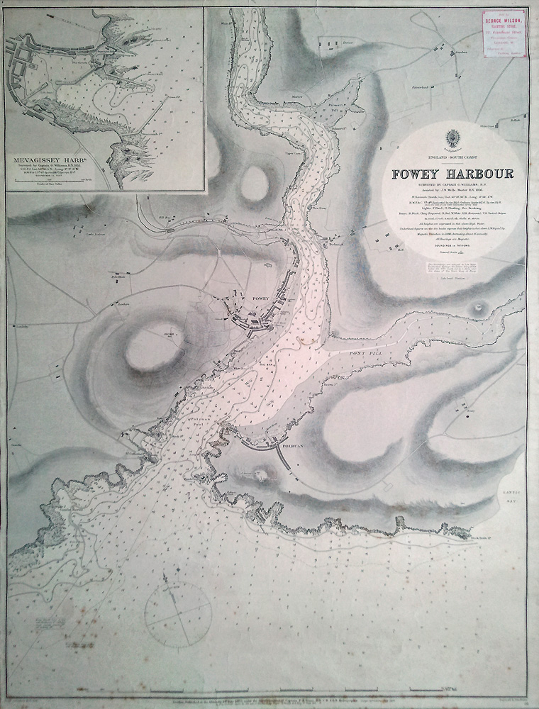 19th century antique sea chart of Fowey