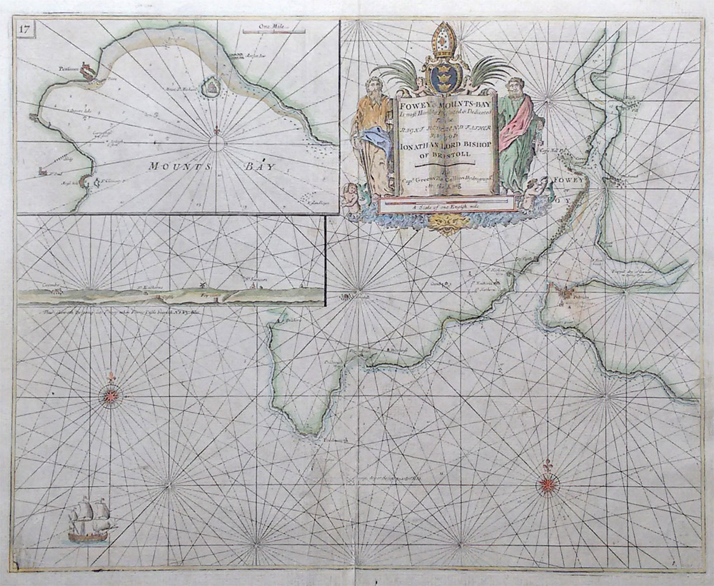 Greenville Collins original antique nautical chart of Fowey
