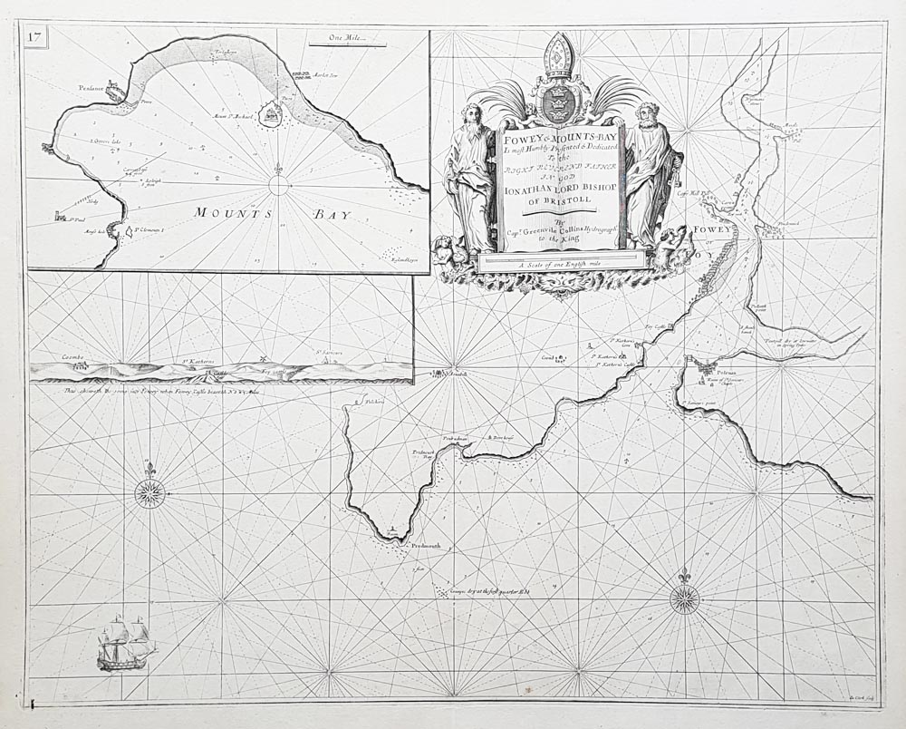 Greenville Collins original antique sea chart of Fowey
