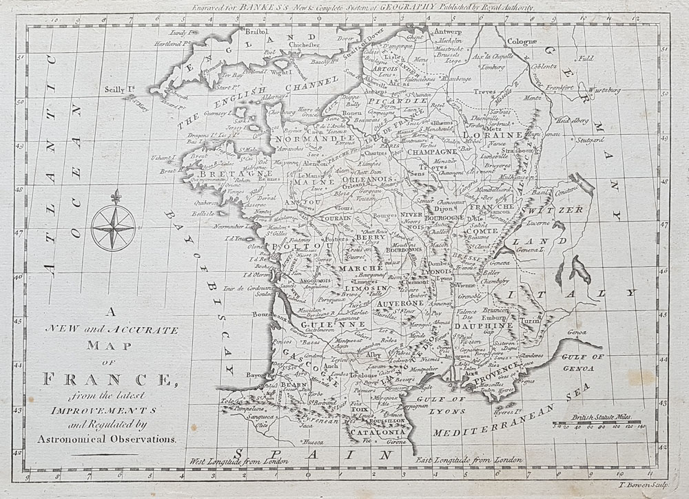 18th Century Map Of France By Thomas Bowen For Sale